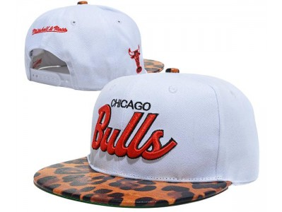 96c54a2f1c0 White Chicago Bulls Snapback Leopard Brim for sale