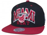Black Miami Heat Snapback Hat Red Brim