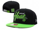 Black NBA Miami Heat Snapback Hat Green Brim