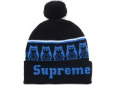 Black Supreme Beanie with Pom