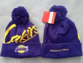 Blue Cheap Los Angeles Lakers Pom Beanies