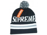 Cheap Black Supreme Knit Beanie with Pom