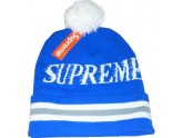 Cheap Blue Supreme Knit Beanie with Pom
