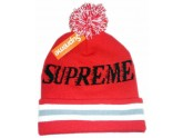 Cheap Red Supreme Knit Beanie with Pom