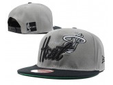 Grey and Black Miami Heat Snapback Cap Hat