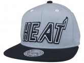 Grey and Black Miami Heat Snapback Hats