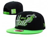Miami Heat Snapback Hat in Black Green Brim