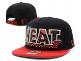 Miami Heat Snapback Hat in Black Red Brim