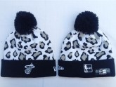 Miami Heat Sport Beanies in Grey Leopard Pattern