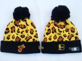 Miami Heat Sport Beanies in Leopard Pattern