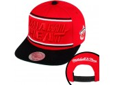 Mitchell and Ness Red Miami Heat Snapback Hats
