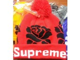 Red and Black Supreme Pom Beanie