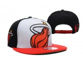White and Black Miami Heat Snapback Hat